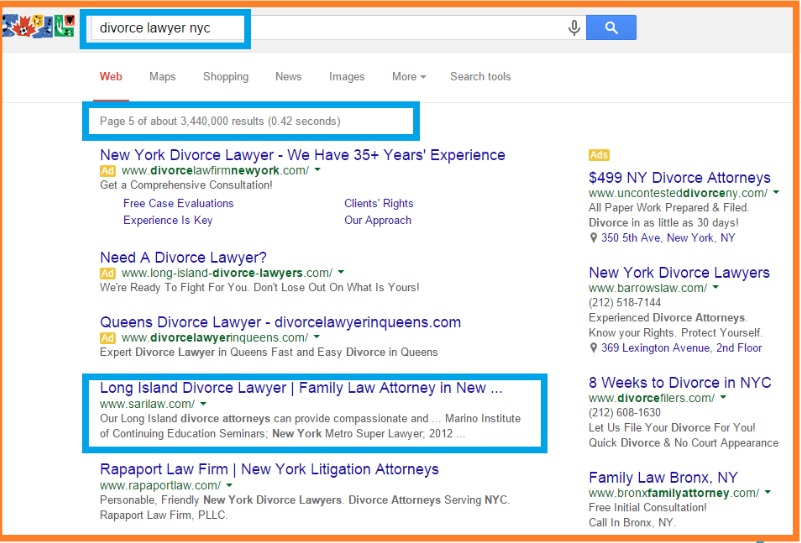 Divorce Lawyer poor google ranking